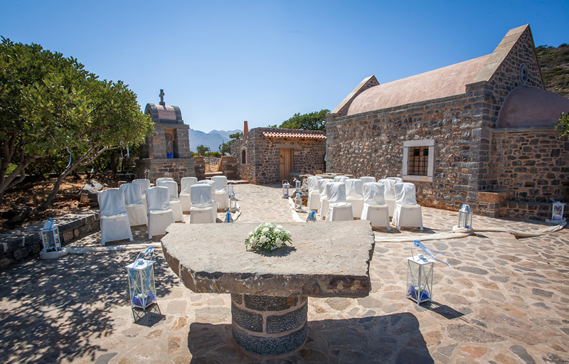 Hidden Chapel Elounda Crete - Unusual stone chapel overlooking bay perfect for your wedding abroad WeddingsAbroad.com